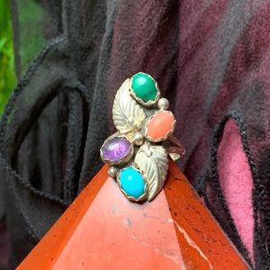 Richard Begay vintage sterling silver & gem ring